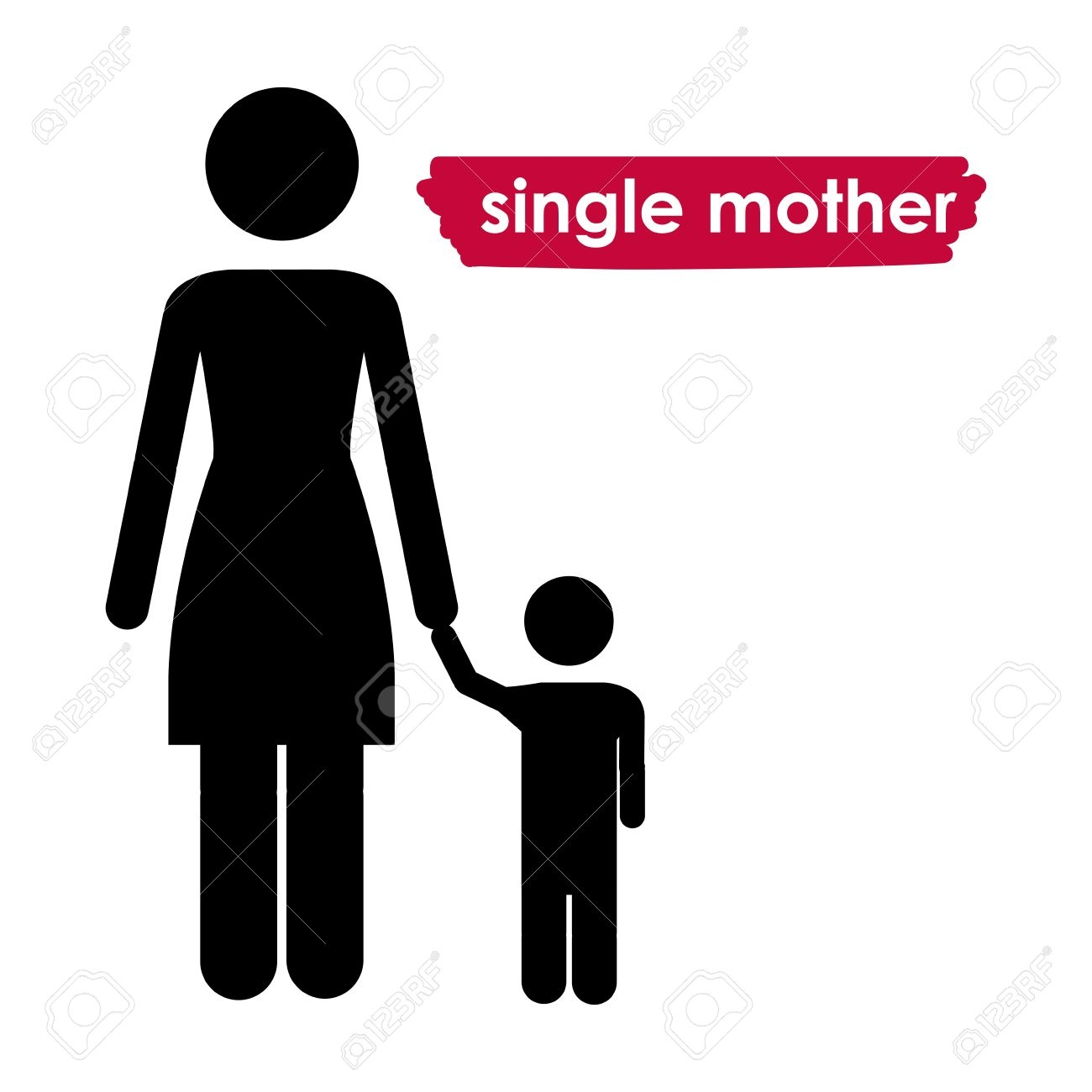 Single parent families clipart.