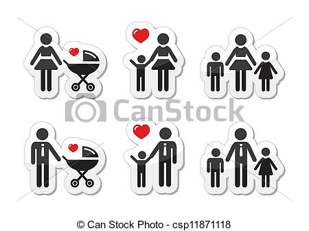 Vector Clip Art of Single parent sign.