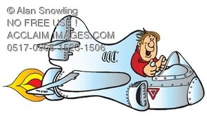 Clipart Illustration of Single Seater Jet Airplane.