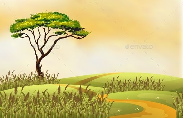 Illustration of a single tree on a hill.