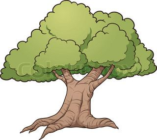 Cartoon oak tree. Vector clip art illustration with simple.