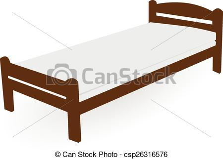Vectors Illustration of wood single bed.