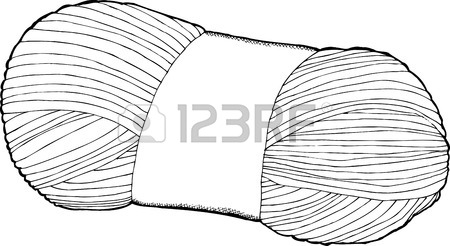 Black Outline Drawing Of A Single Bundle Of Yarn Royalty Free.