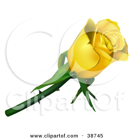 Clipart Illustration of a Single Yellow Rose With Thorns by dero.