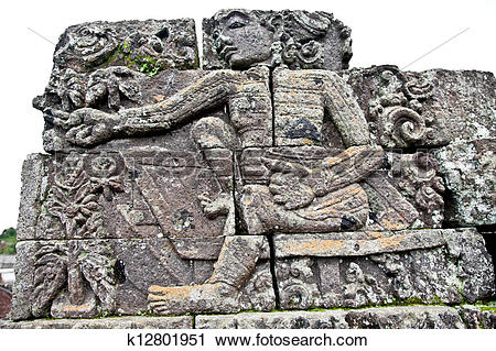 Stock Photography of Stone craft in Candi Jago Temple and memorial.