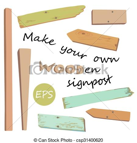 Vector Illustration of Make your own wooden singpost.