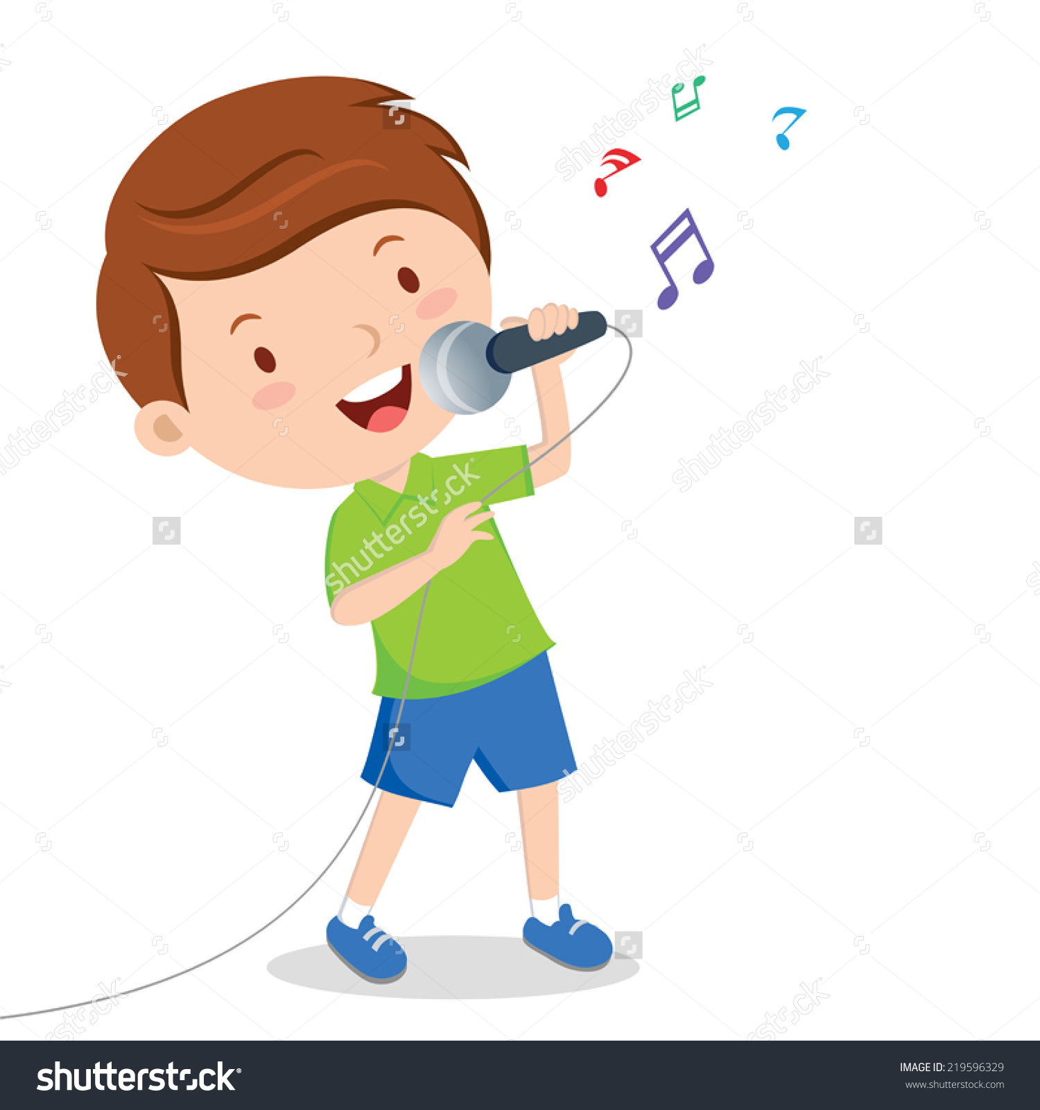 A boy singing clipart.