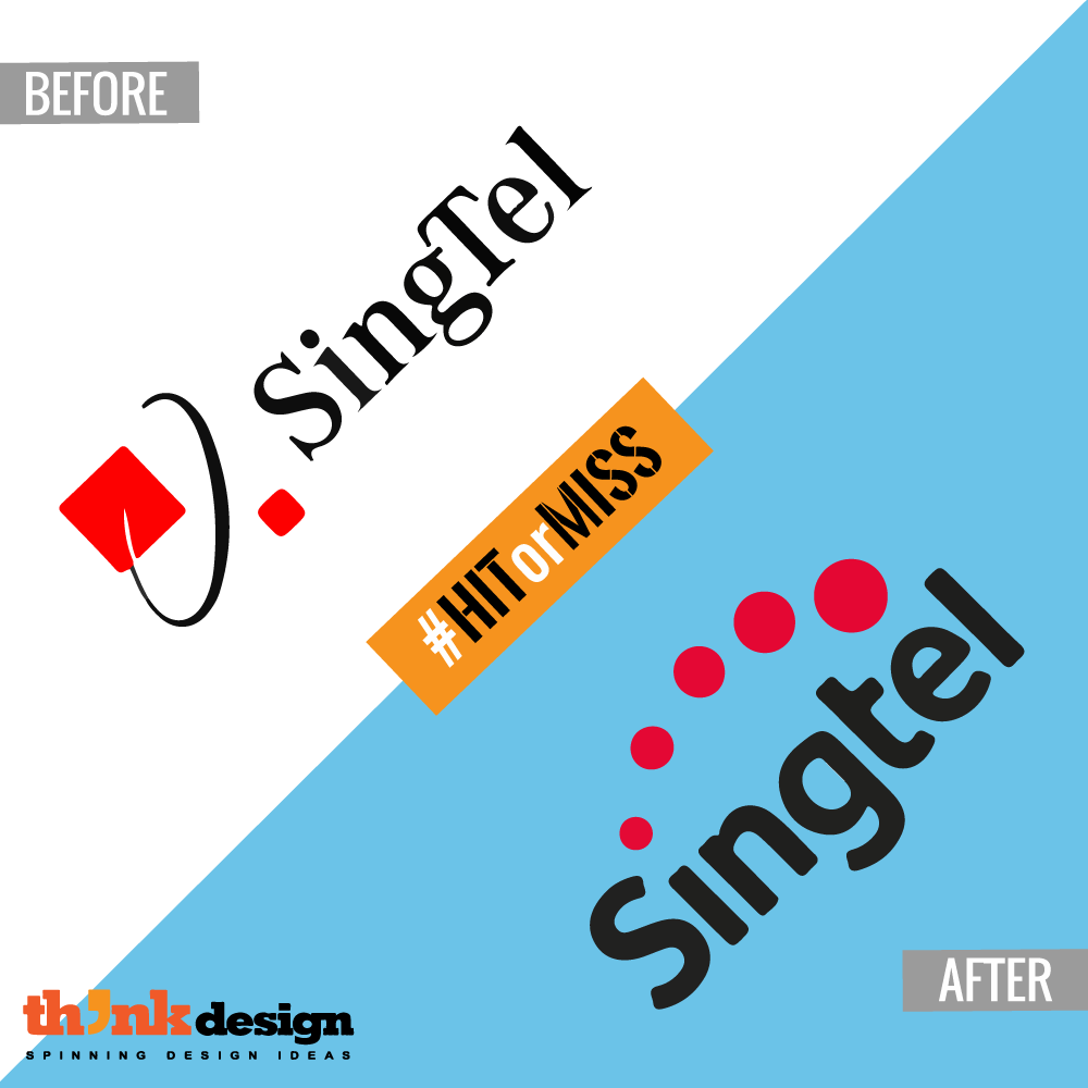 Singtel logo takes a new turn. The t is not capital and the.