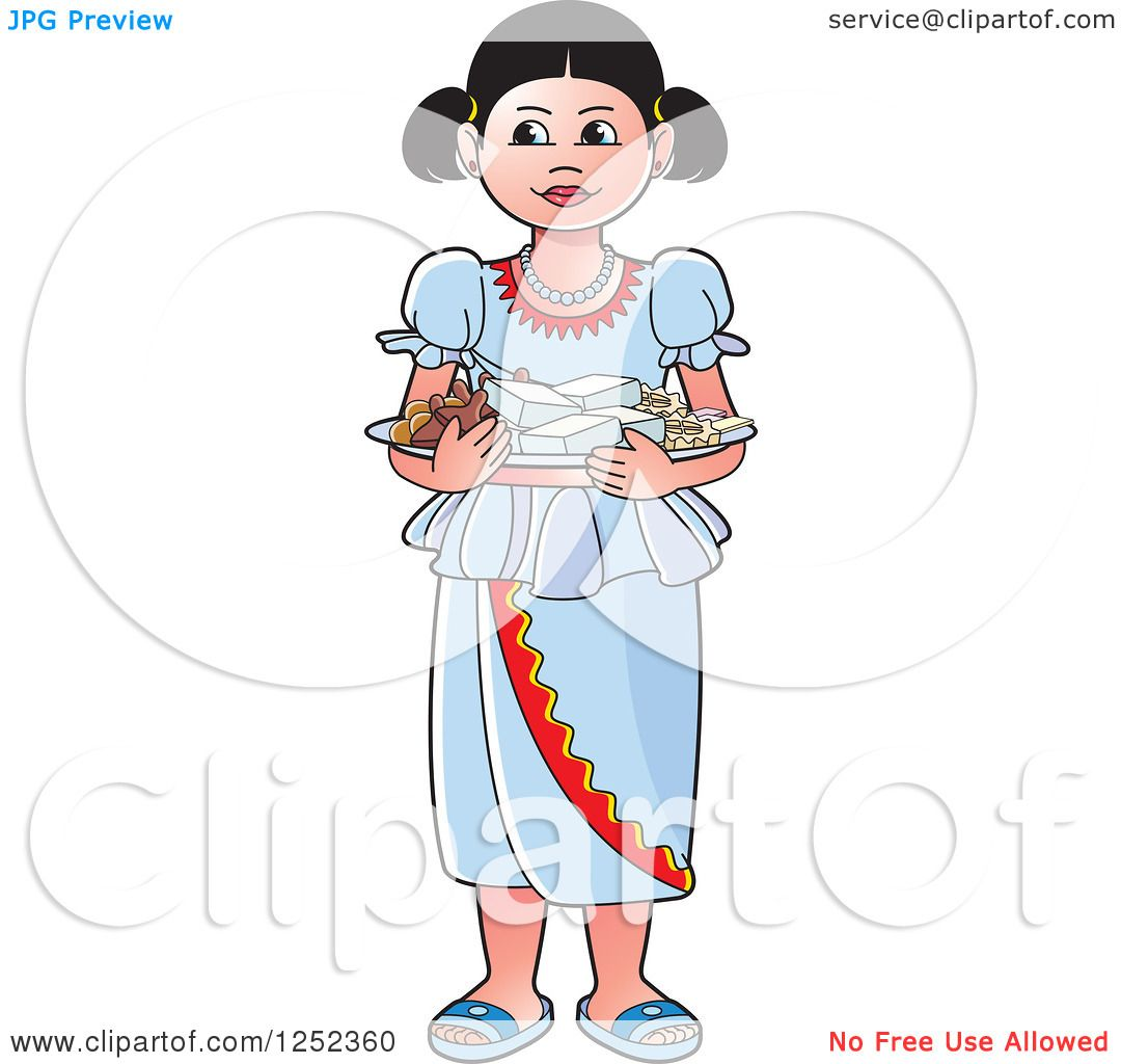 Clipart of a Girl with Sinhala Sweets.
