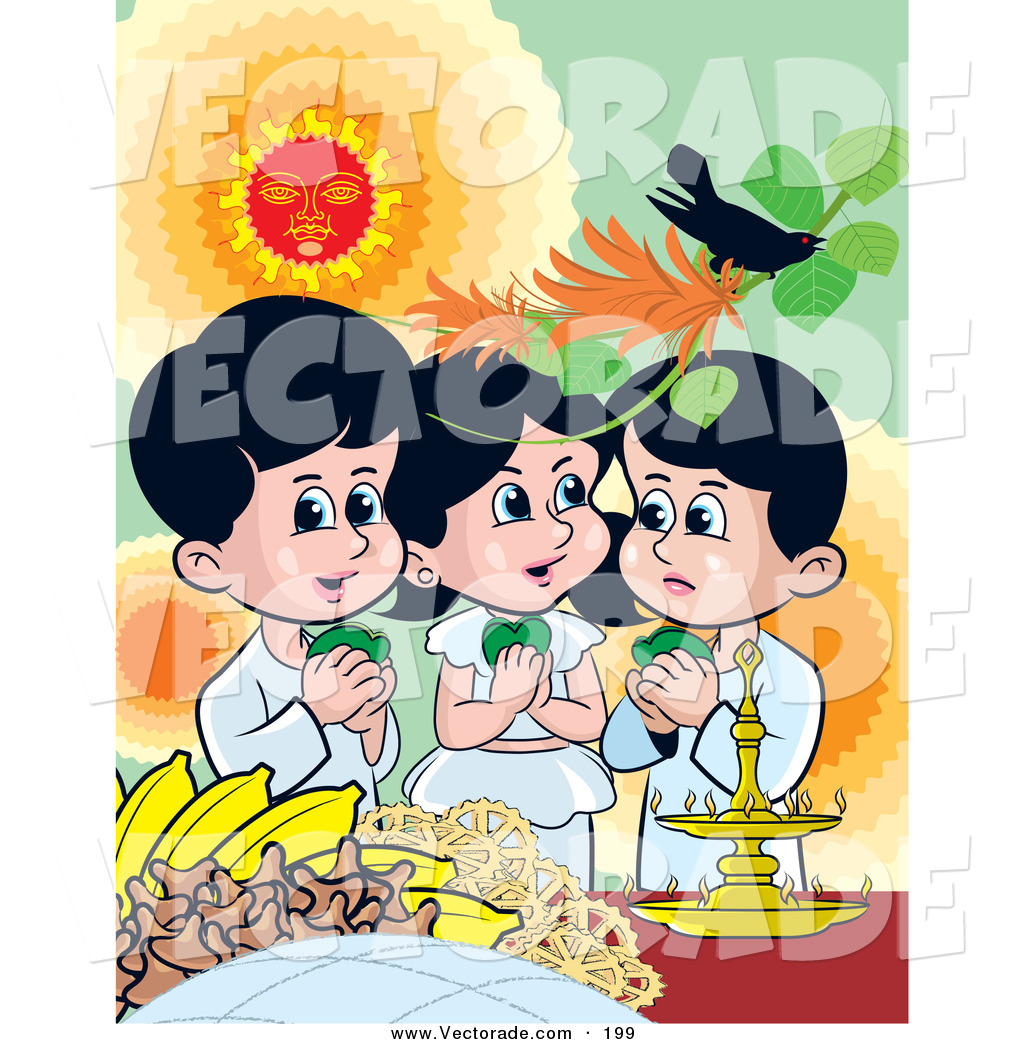 Vector of a Trio of Happy Sinhalese Children Celebrating New Years.