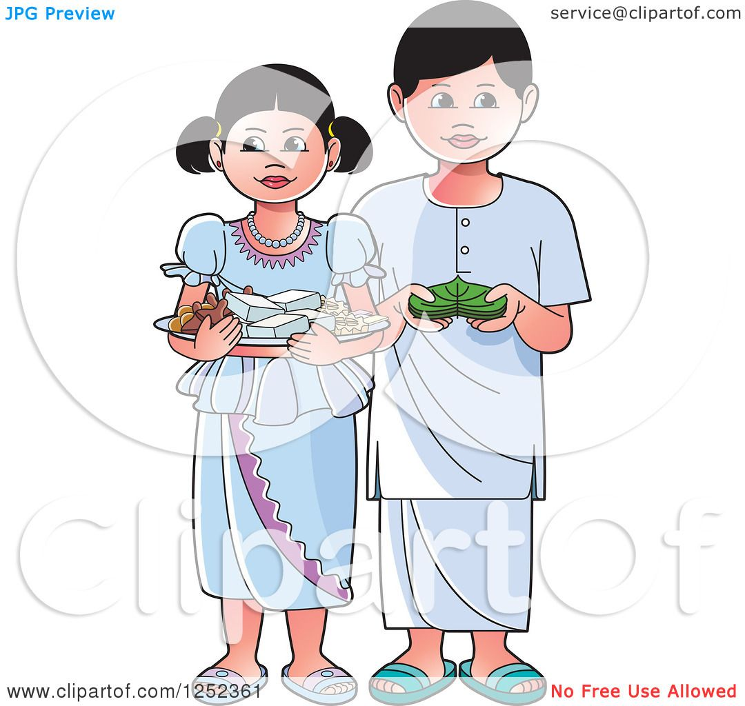 Clipart of Children with Sinhala Sweets and Betel.