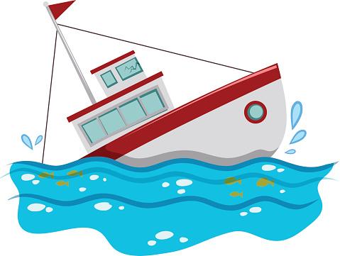 Sinking boat clip art.