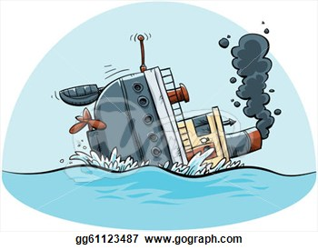 Sinking row boat clipart.