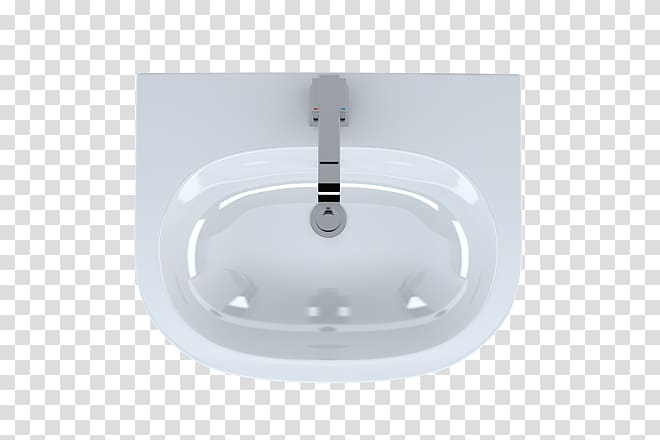 White lighting, Ceramic kitchen sink Glass Tap, Top View.