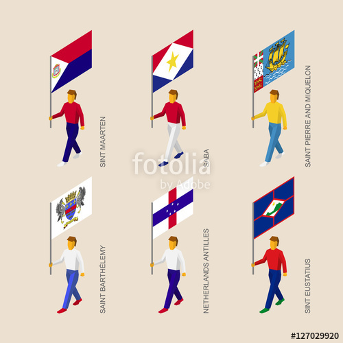Set of isometric 3d people with flags of islands in Caribbean sea.