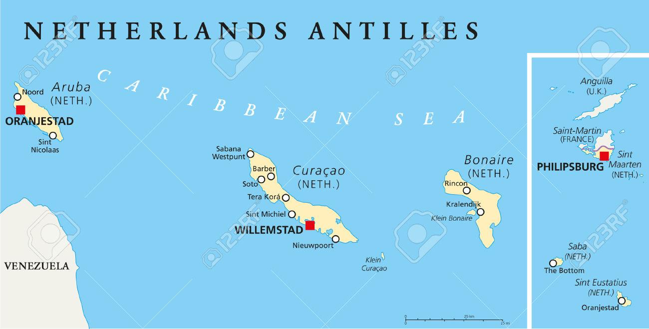 Netherlands Antilles Political Map. Aruba, Curacao, Bonaire.