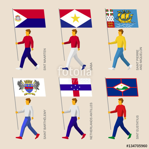 Set of simple flat people with flags of Caribbean countries.