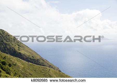 Stock Image of Saba Netherlands Antilles mountain cliff view of.