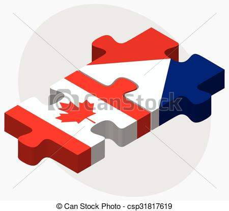 Vector Clip Art of Canada and Sint Maarten Flags in puzzle.