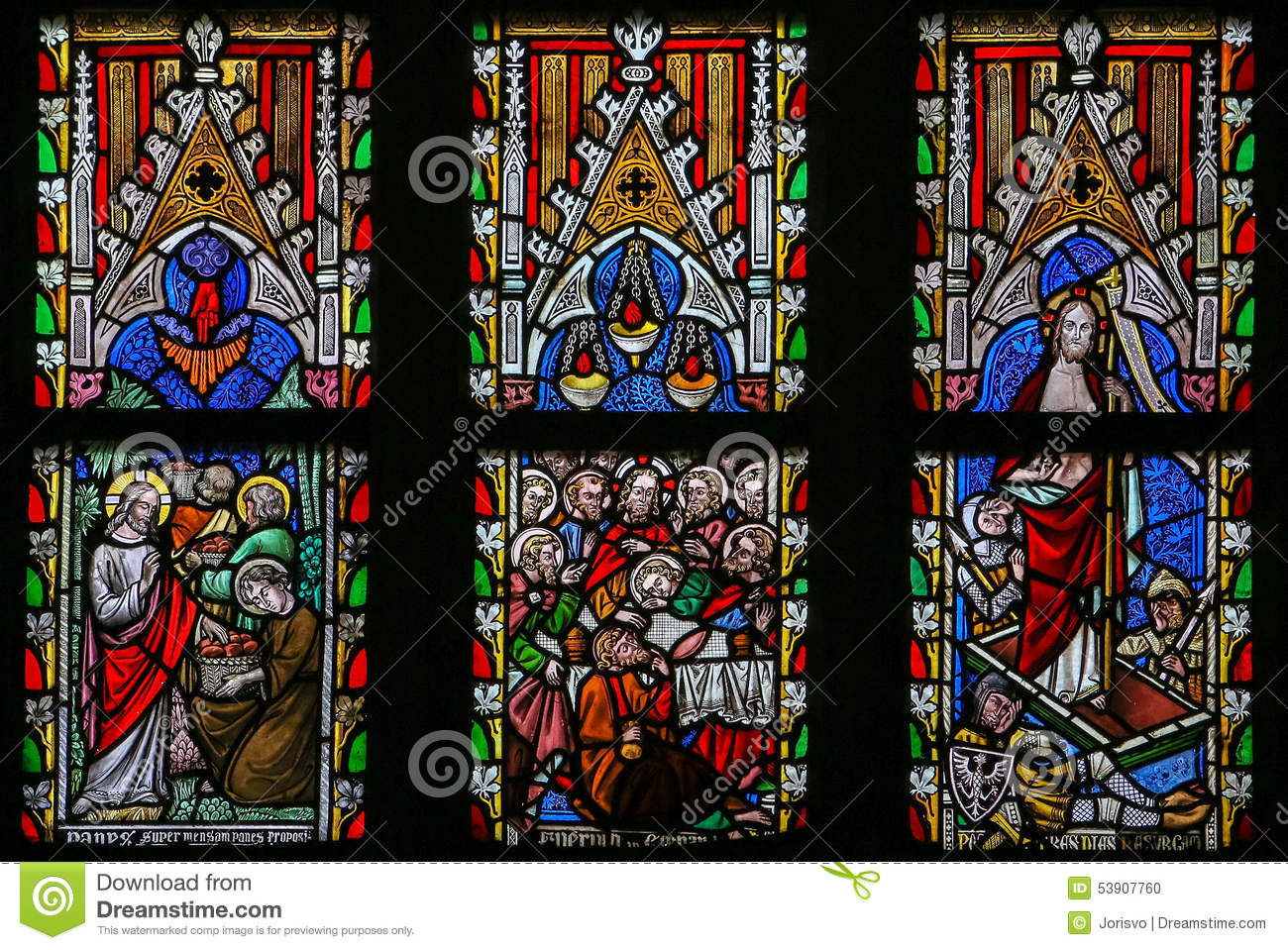 Stained Glass Window Depicting Scenes In The Life Of Jesus Chris.