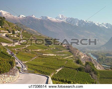 Stock Photo of Switzerland, Europe, valais, wallis, Sion, Rhone.