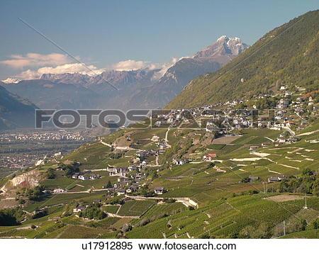 Stock Image of Switzerland, Europe, valais, wallis, Sion, Rhone.