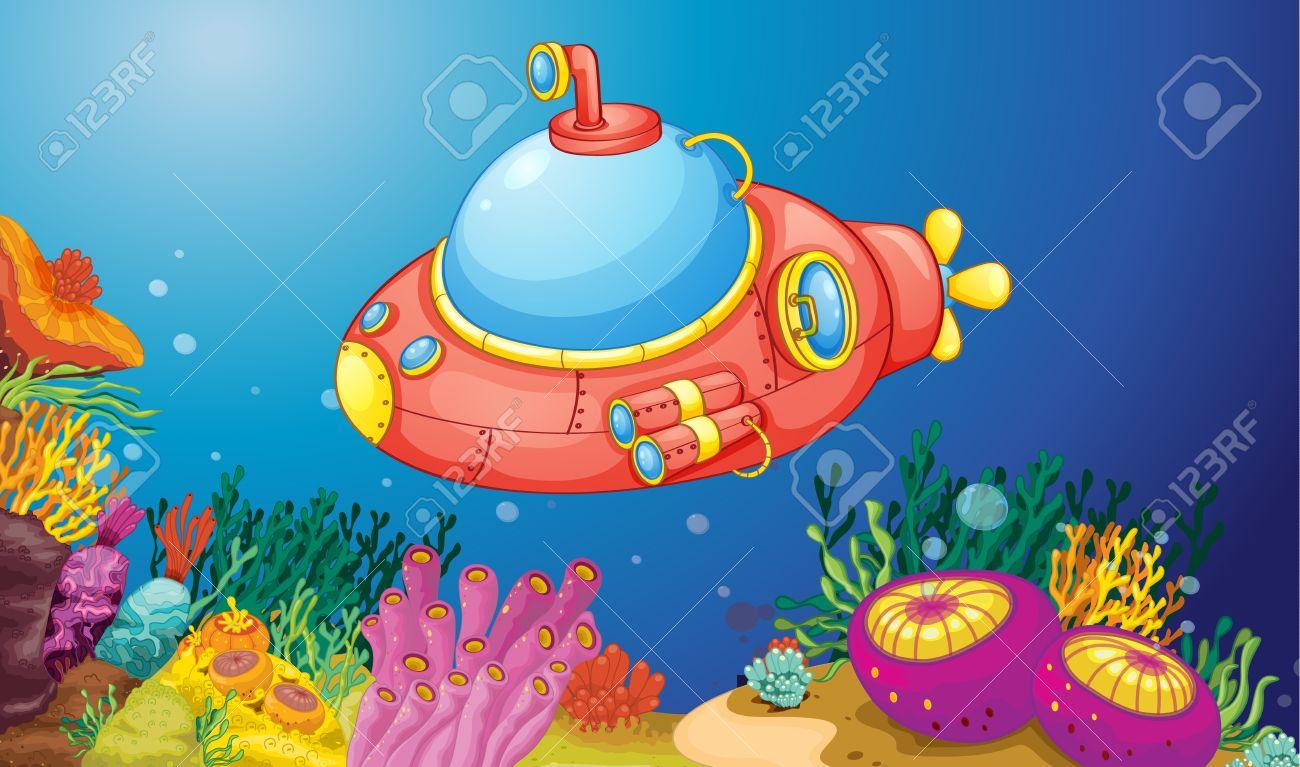 Illustration Av En Ubåt Under Vattnet Royalty.