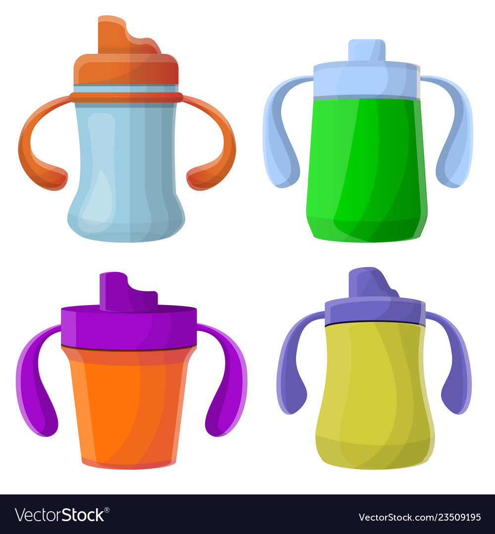 Sippy cup icons set cartoon style.