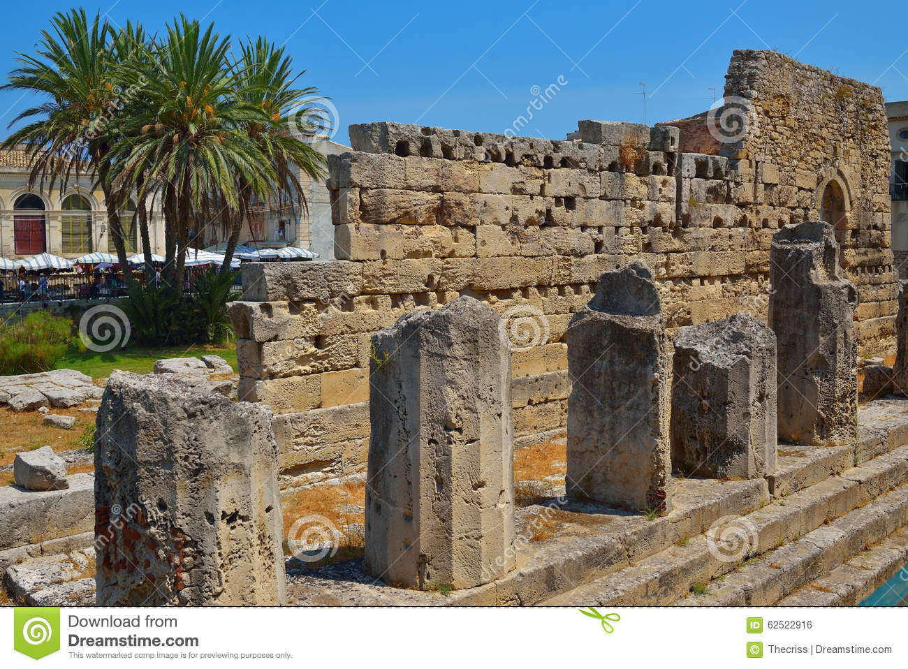 Ancient Greek Apollo Temple Ruins In Siracusa City Italy Stock.