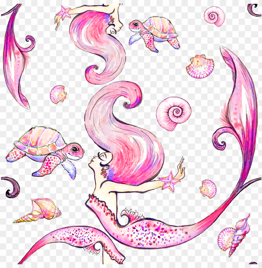 acuarela sirena PNG image with transparent background.