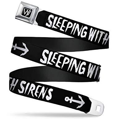 Sleeping with Sirens W Logo Full Color Black/White Seatbelt Belt.