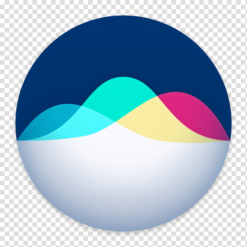 Siri for macOS, round white, blue, pink, and yellow logo.