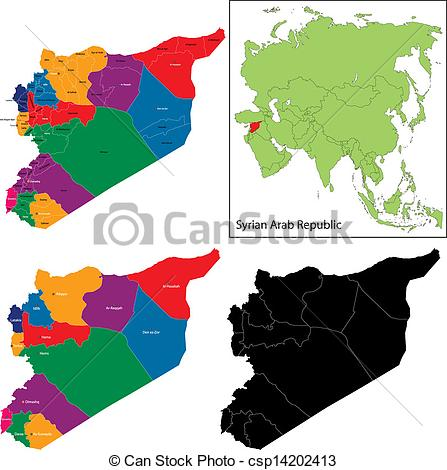 Vector Clip Art of Syria map designed in illustration with regions.