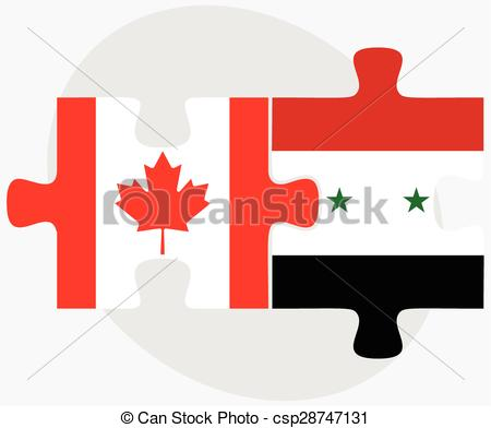 Vectors of Canada and Syria Flags.