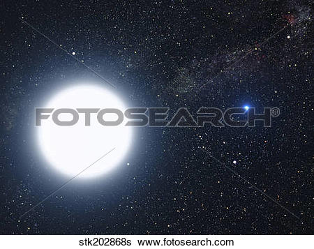 Stock Illustration of Artist's concept showing the binary star.