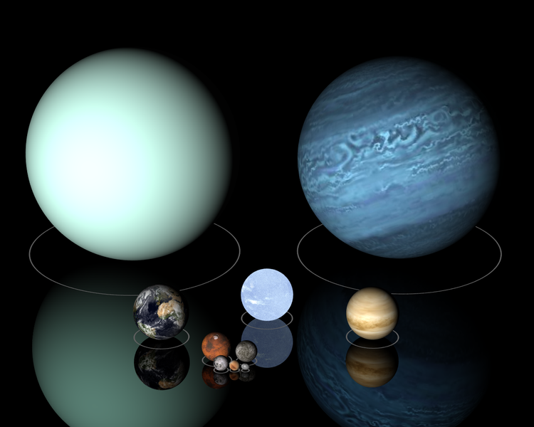 Solar system objects to scale: Uranus (left), Neptune (right.