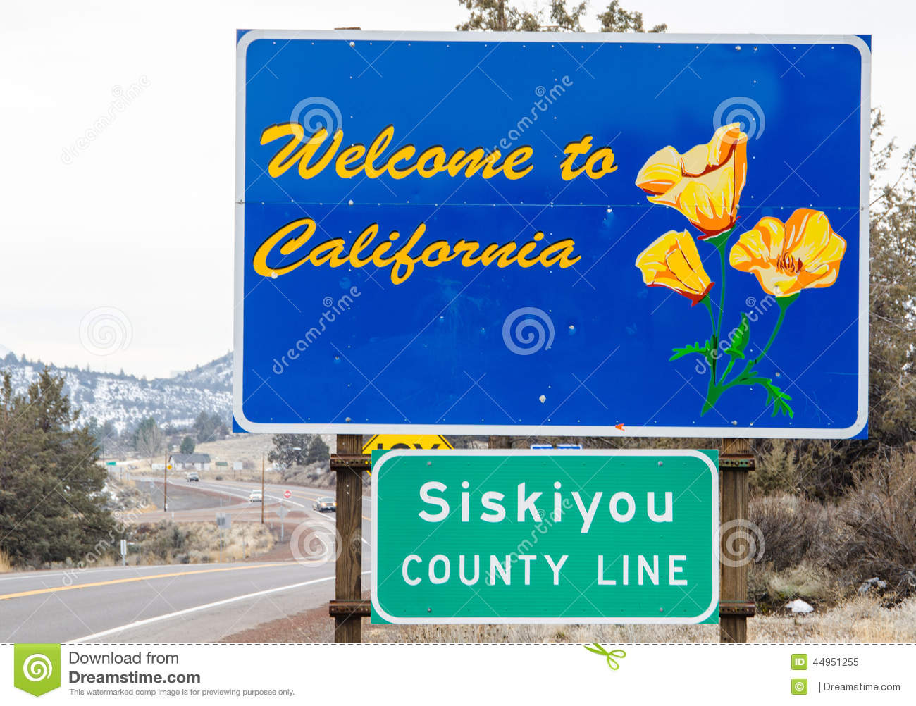 Welcome To California Sign Stock Photo.