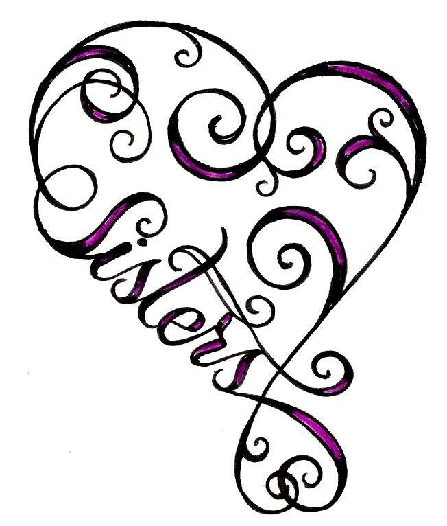 heart sister tattoo.