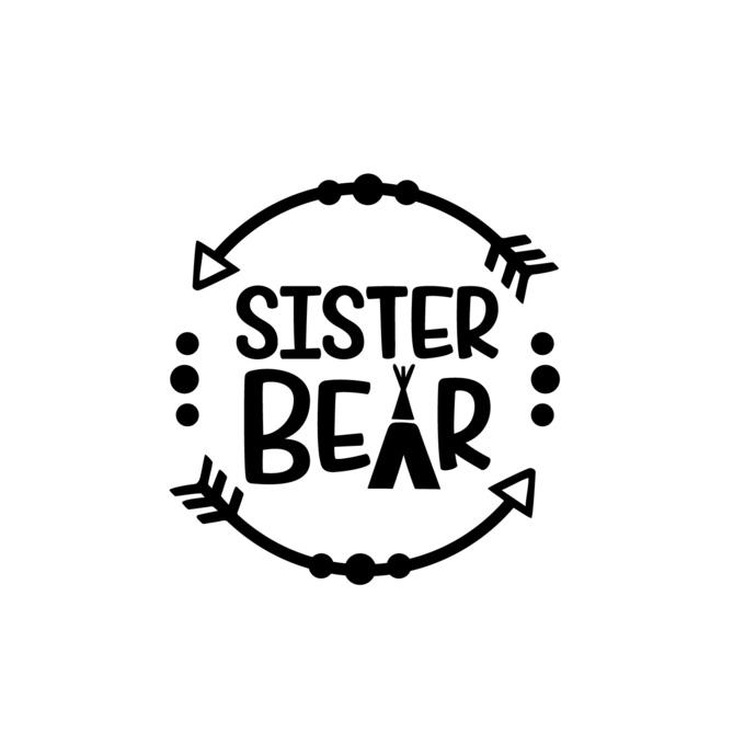 Sister Bear Graphics SVG Dxf EPS Png Cdr Ai Pdf Vector Art Clipart instant  download Digital Cut Print File.