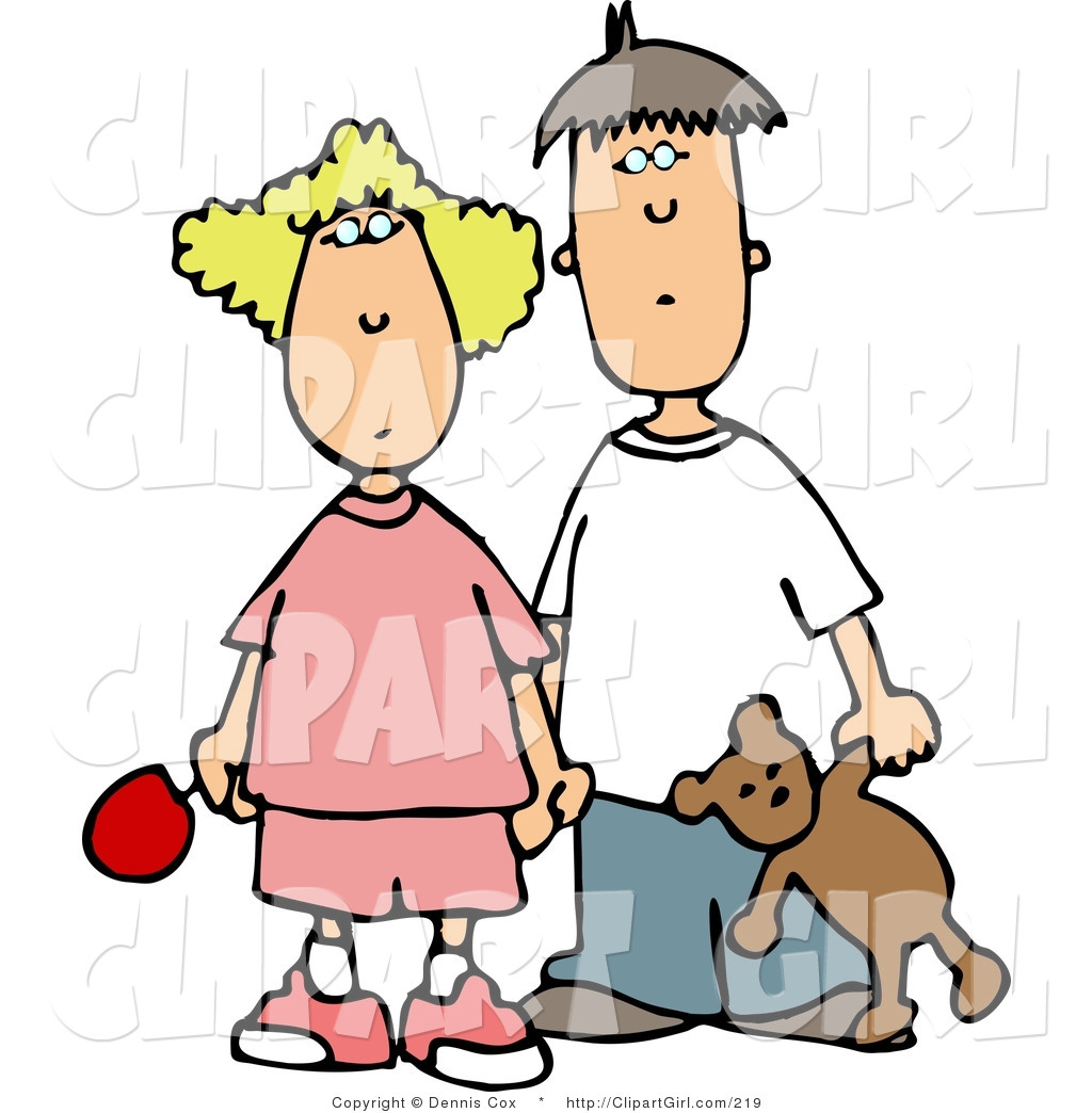 Clip Art of a Worried Brother and Sister Holding Hands.