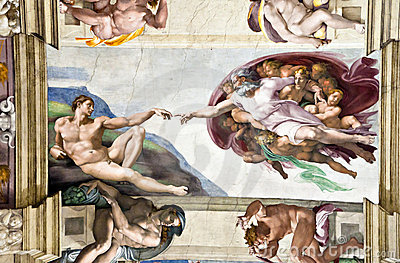 Michelangelo's Frescoes In Sistine Chapel Editorial Photo.