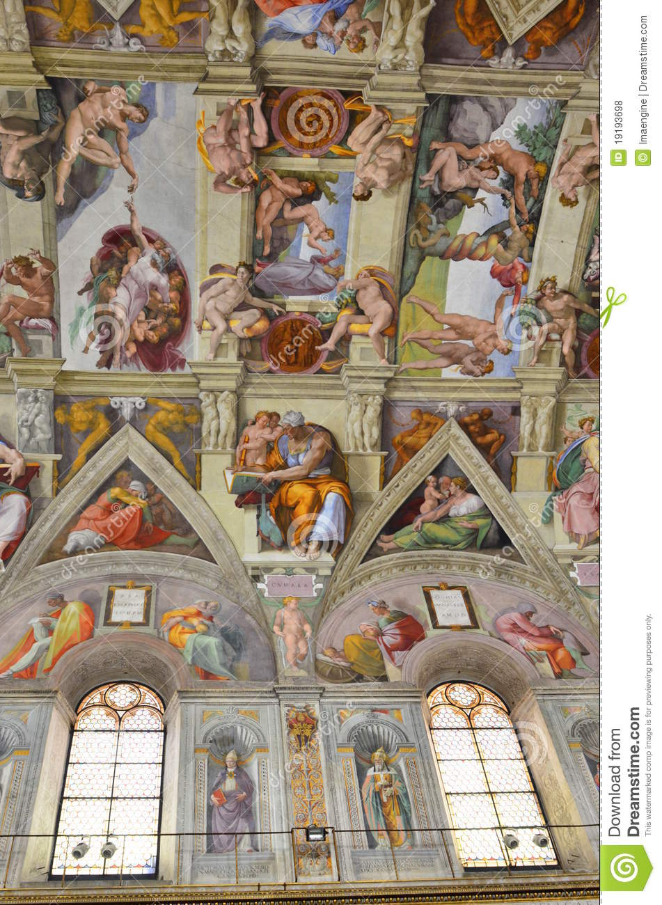 Sistine Chapel Ceiling Paintings Editorial Stock Photo.