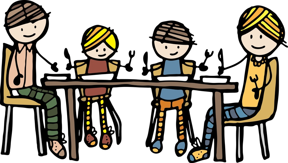 sit at table to eat clipart #2