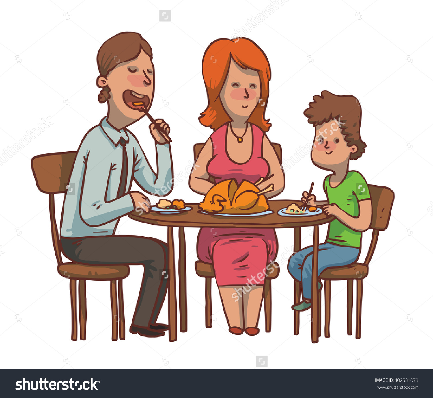 Vector Cartoon Image Family Dinner Father Stock 402531073