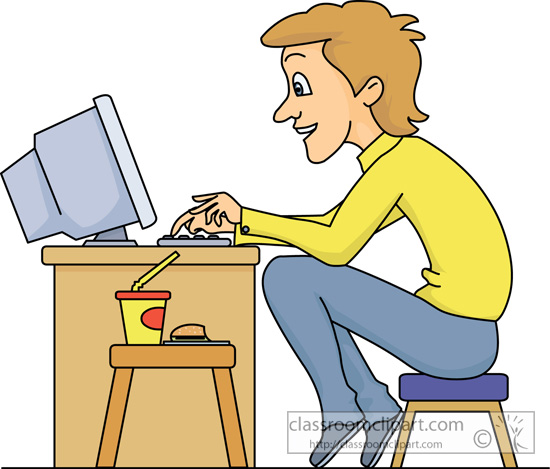 Clipart sit at computer.
