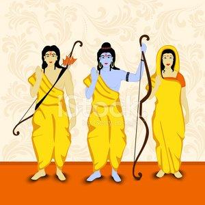 Illustration of Lord Rama, Laxmana and Sita for Dusshera.