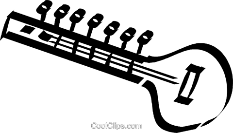 Sitar Royalty Free Vector Clip Art illustration.