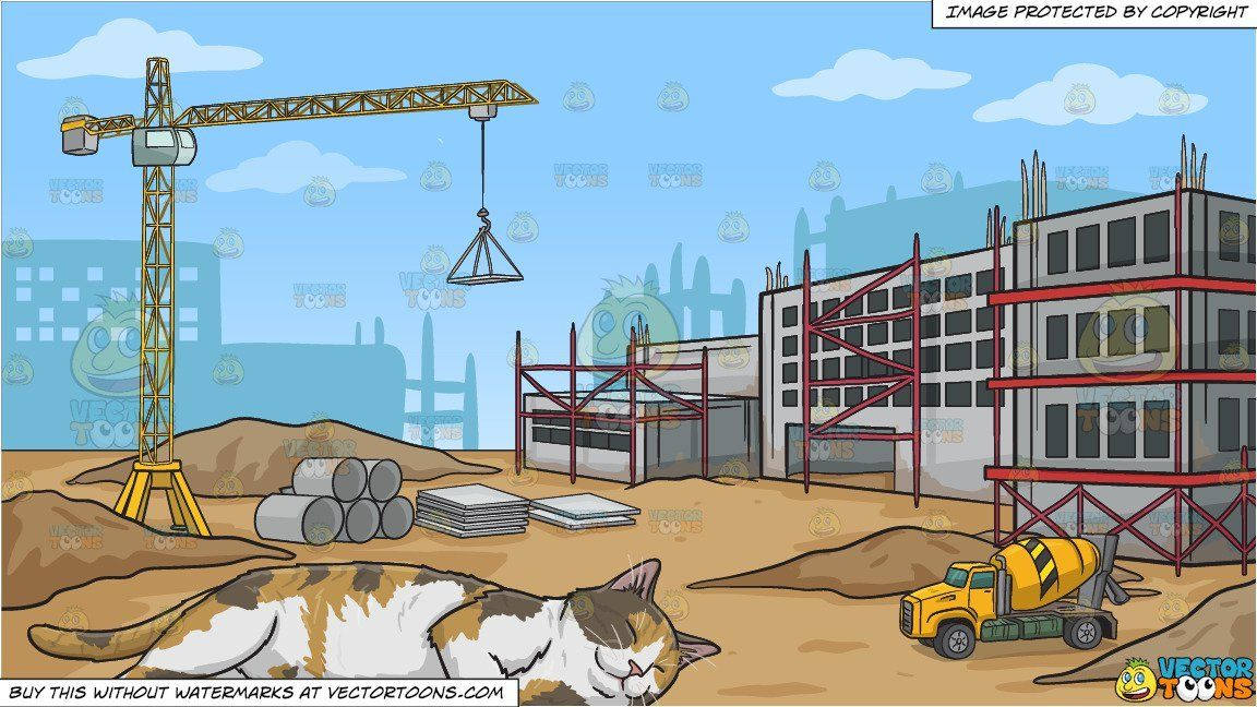 clipart #cartoon A Sleeping Calico Cat and A Construction.