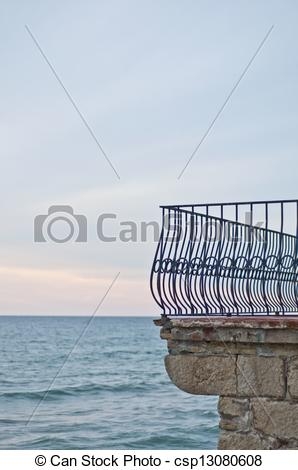 Stock Photography of Balcony fence in front of the sea in Sitges.