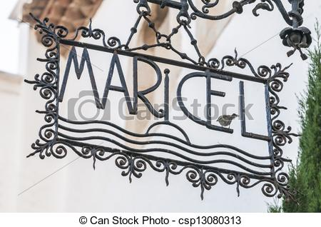 Stock Photography of Palau Maricel sign in Sitges Spain.